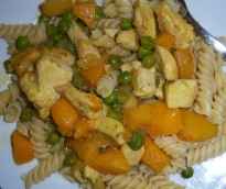 Recipe for chicken breast with peaches and pasta