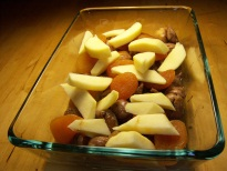 A layer of chestnut, dried apricots and apple