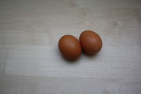 Two fresh raw eggs