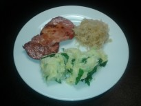 Pork chop with mashed potatoes, turnip and sauerkraut