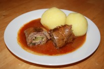 Beef Roulades with dumplings and gravy